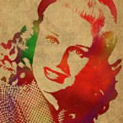 Ginger Rogers Watercolor Portrait Art Print