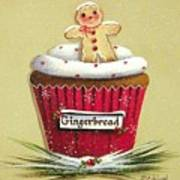 Gingerbread Cookie Cupcake Art Print