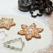 Gingerbread Making - Christmas Preparing With Vintage Kitchen Tools Art Print