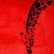 Giraffe Animal Decorative Red Wall Poster 3 - By  Diana Van Art Print