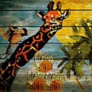 Giraffe Rustic Art Print