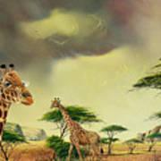 Giraffes At Thabazimba Art Print