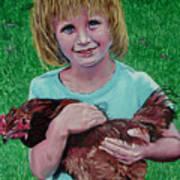 Girl And Chicken Art Print