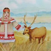 Girl And Deer Art Print