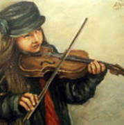 Girl And Her Violin Art Print