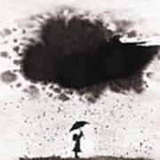 Girl And Ink Cloud Rain Art Print