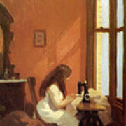 Girl At Sewing Machine Art Print By Edward Hopper