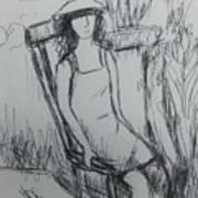Girl At The Garden Art Print
