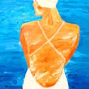 Girl At The Pool Art Print