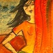 Girl Behind The Curtain Art Print