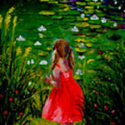 Girl By Lily Pond Art Print