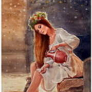 Girl By Water Spring Art Print