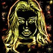 Girl Fireworks Art Print