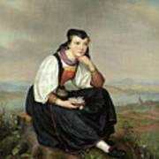 Girl From Hessen In Traditional Dress Art Print