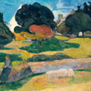 Girl Herding Pigs Art Print by Paul Gauguin