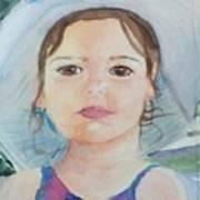 Girl In A Hat Portrait Art Print