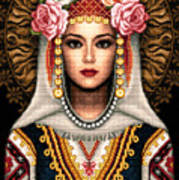 Girl In Bulgarian National Costume Art Print