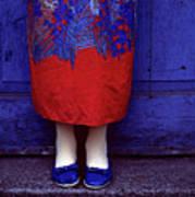 Girl In Colorful Flower Dress Art Print