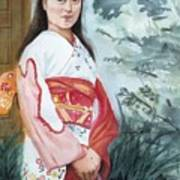 Girl In Kimono Art Print