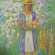 Girl In Monet's Garden At Giverny Art Print