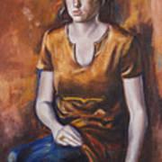Girl In Orange Art Print