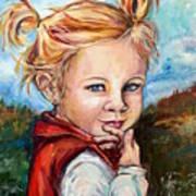 Girl In Red Jumper Art Print