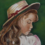 Girl In Ribboned Straw Hat Art Print