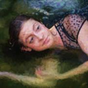 Girl In The Pool 15 Art Print