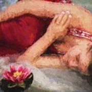 Girl In The Pool 2 Art Print