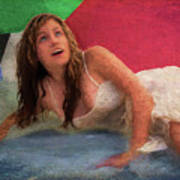 Girl In The Pool 3 Art Print