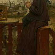 Girl Knitting On A Balcony, Montmartre Art Print