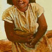 Girl On Bench Art Print