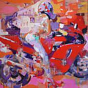 Girl On Red Bike Art Print