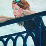 Girl On The Rail Art Print