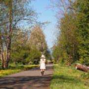 Girl On Trail In Straw Hat Art Print