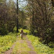 Girl On Trail With Walking Stick Art Print