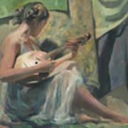 Girl Playing Domra  Art Print