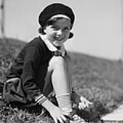 Girl Putting On Roller Skates, C.1930s Art Print