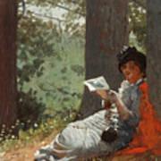Girl Reading Under An Oak Tree Art Print