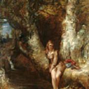 Girl Seated Beside A Woodland Pool Art Print