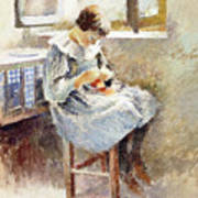 Girl Sewing Art Print