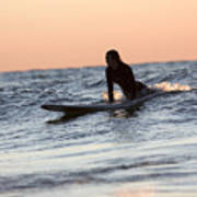 Surfer Girl Trying To Catch A Wave Art Print