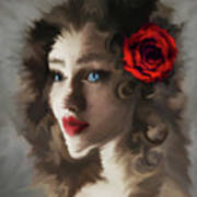 Girl With A Red Rose.. Art Print