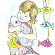 Girl With A Toy-fish Art Print