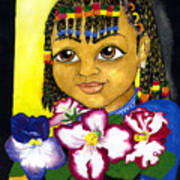 Girl With African Violet Art Print
