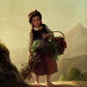 Girl With Basket Art Print