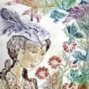 Girl With Butterflies Art Print