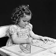 Girl With Coloring Book, C.1960-40s Art Print