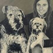 Girl With Dogs In Black And White Art Print