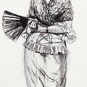 Girl With Fan Art Print